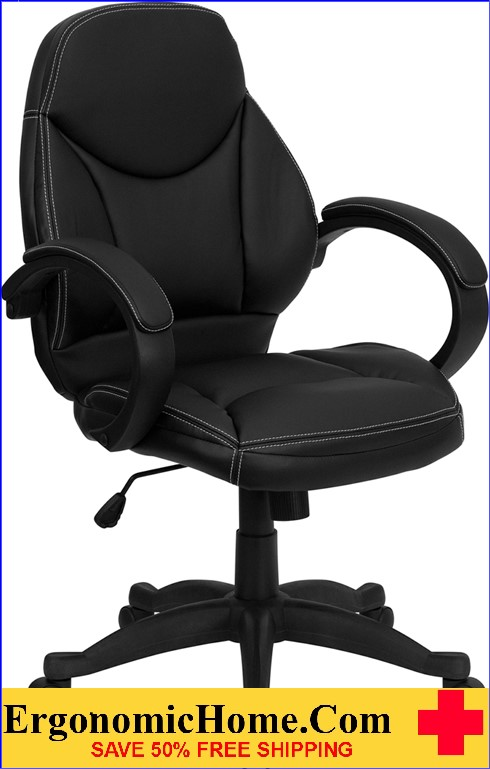 Ergonomic Home Mid-Back Black Leather Contemporary Executive Swivel Office Chair .