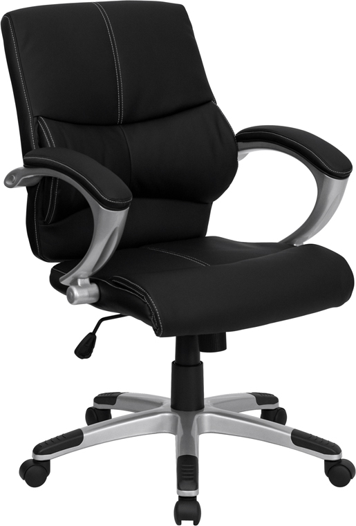 Mid-Back Black Leather Contemporary Swivel Manager's Chair