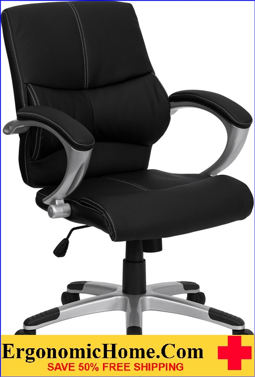 Ergonomic Home Mid-Back Black Leather Contemporary Swivel Manager's Chair <b><font color=green>50% Off Read More Below...</font></b>