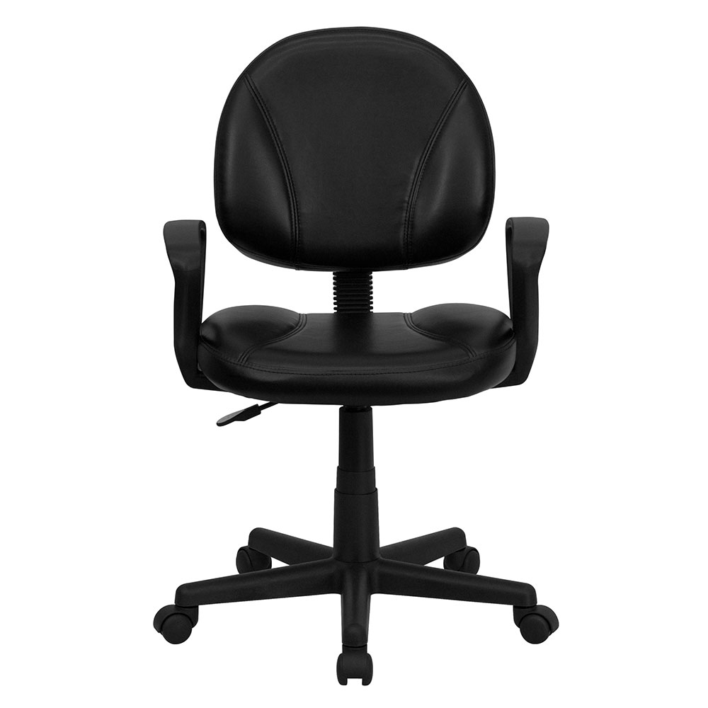 Ergonomic Home Mid Back Black Leather Ergonomic Swivel