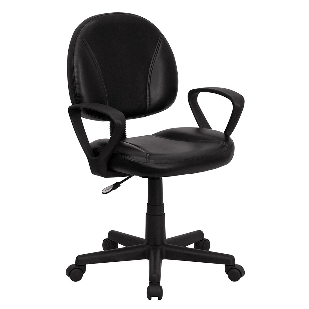 Ergonomic Home Mid-Back Black Leather Swivel Task Chair with Arms EH-BT-688-BK-A-GG <b><font color=green>50% Off Read More Below...</font></b>