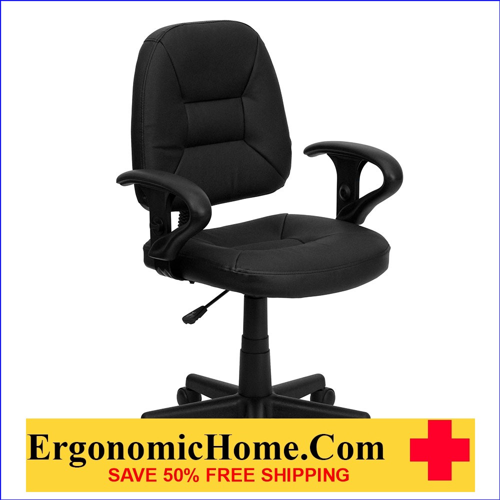 </b></font>Ergonomic Home Mid-Back Black Leather Swivel Task Chair with Height Adjustable Arms EH-BT-682-BK-GG <b></font>. </b></font></b>