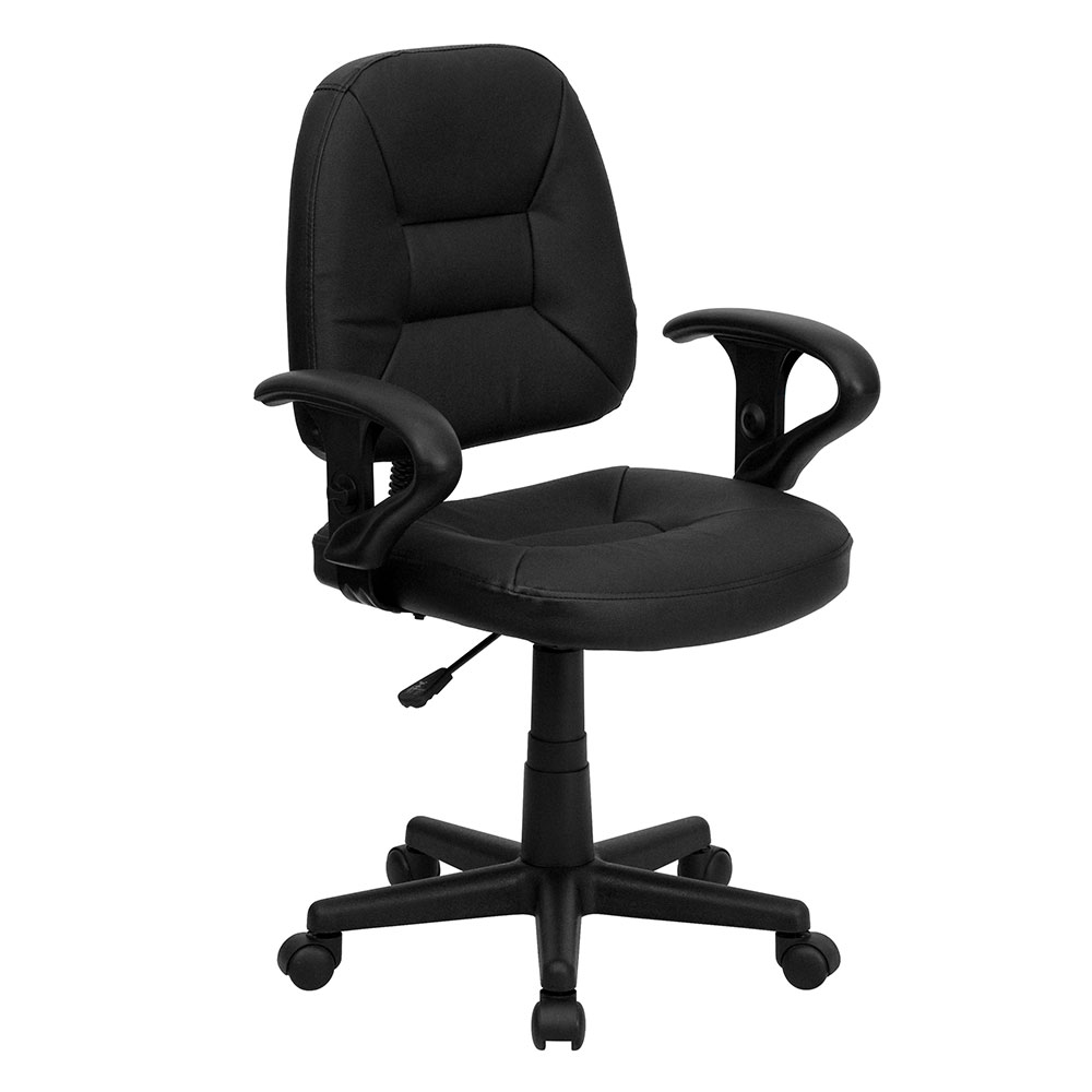 Mid-Back Black Leather Ergonomic Swivel Task Chair with Height Adjustable Arms