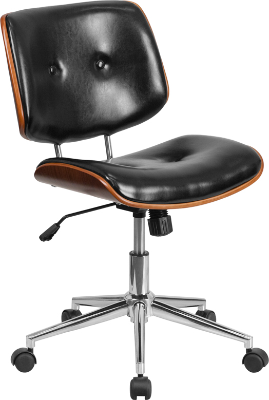 Mid-Back Black Leather Ergonomic Wood Swivel Task Chair