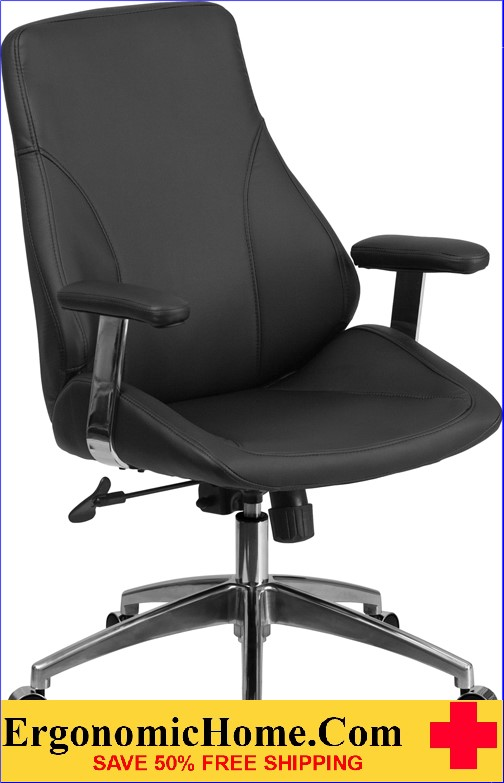 Ergonomic Home Mid-Back Black Leather Executive Swivel Office Chair <b><font color=green>50% Off Read More Below...</font></b>