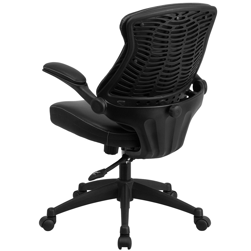 ergonomic home mid back black leather executive swivel office chair with back angle adjustment. Black Bedroom Furniture Sets. Home Design Ideas