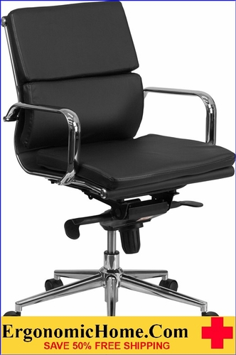 Ergonomic Home Mid-Back Black Leather Executive Swivel Office Chair with Synchro-Tilt Mechanism <b><font color=green>50% Off Read More Below...</font></b>