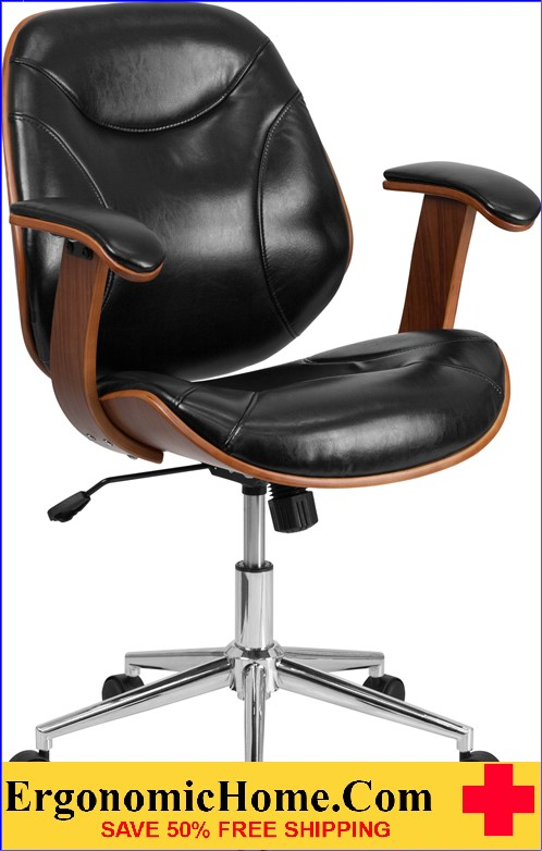 Ergonomic Home Mid-Back Black Leather Executive Wood Swivel Office Chair <b><font color=green>50% Off Read More Below...</font></b>