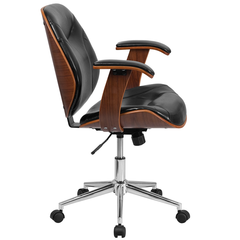 Ergonomic Home Mid Back Black Leather Executive Wood Swivel Office Chair