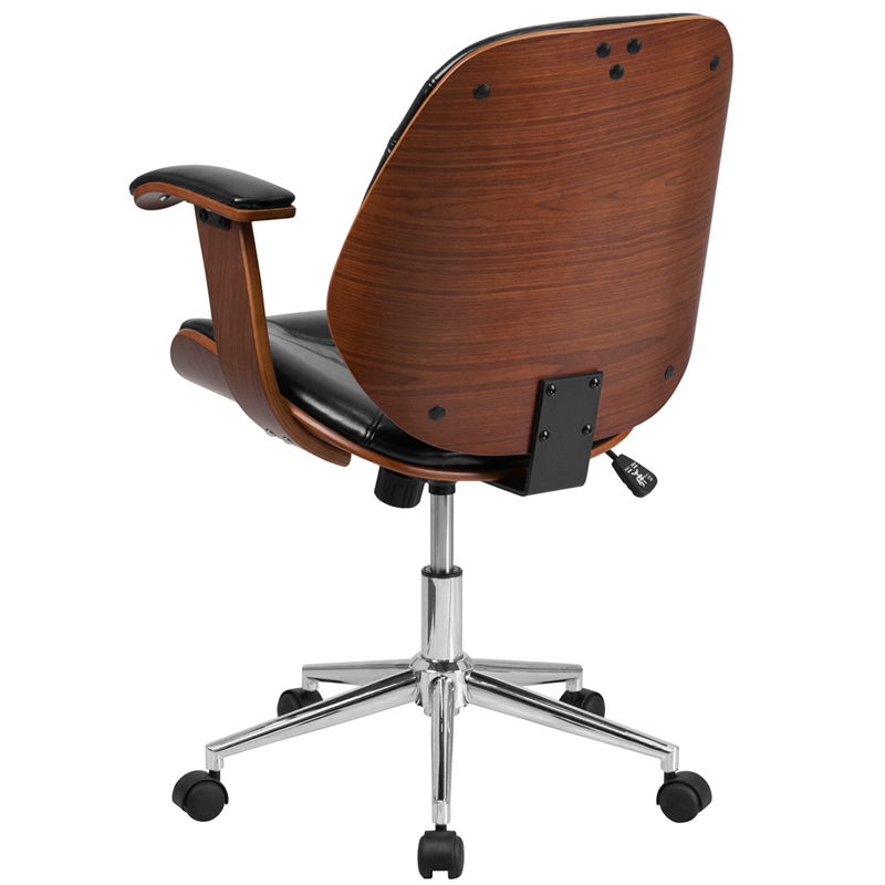 Ergonomic Home Mid Back Black Leather Executive Wood
