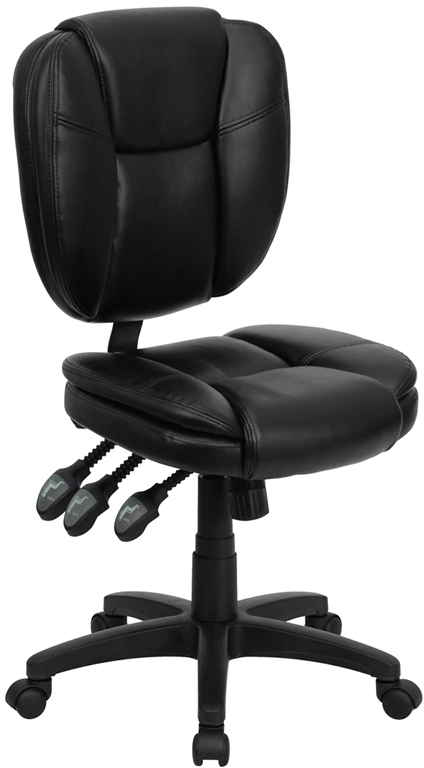 Mid-Back Black Leather Multi-Functional Ergonomic Swivel Task Chair.
