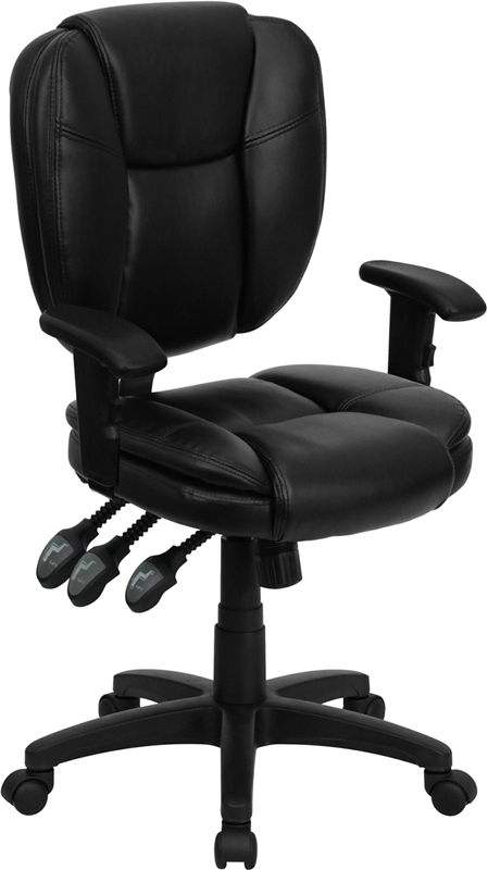 Mid-Back Black Leather Multi-Functional Ergonomic Swivel Task Chair with Height Adjustable Arms.