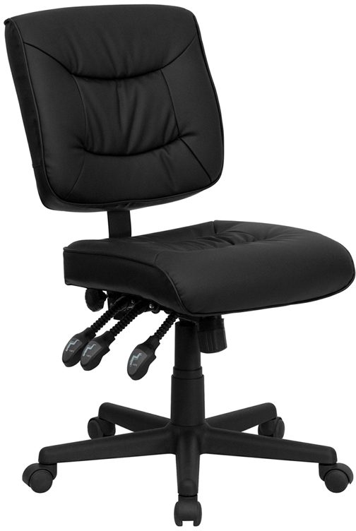 Ergonomic Home Mid-Back Black Leather Multi-Functional Swivel Task Chair EH-GO-1574-BK-GG <b><font color=green>50% Off Read More Below...</font></b>