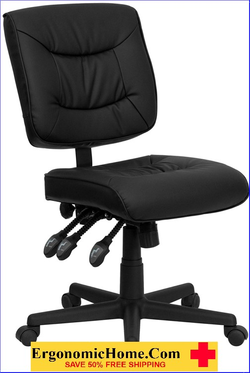 Ergonomic Home Mid-Back Black Leather Multi-Functional Swivel Task Chair EH-GO-1574-BK-GG .
