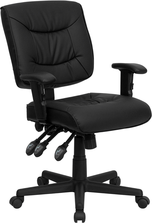 Mid-Back Black Leather Multi-Functional Swivel Task Chair with Height Adjustable Arms