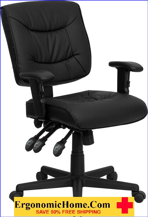 </b></font>Ergonomic Home Mid-Back Black Leather Multi-Functional Swivel Task Chair with Height Adjustable Arms EH-GO-1574-BK-A-GG <b></font>. </b></font></b>