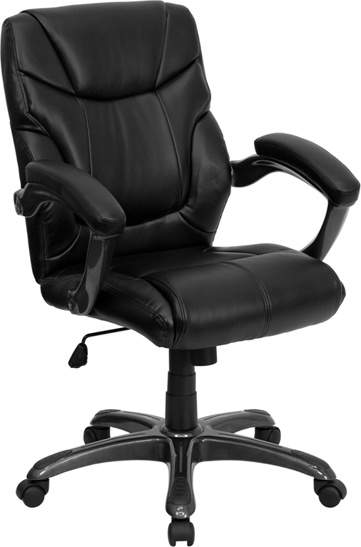 <font color=#c60>Save 50% w/Free Shipping!</font> Mid-Back Black Leather Overstuffed Swivel Task Chair GO-724M-MID-BK-LEA-GG <font color=#c60>Read More ... </font>