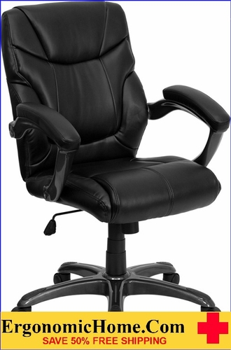 Ergonomic Home Mid-Back Black Leather Overstuffed Swivel Task Chair EH-GO-724M-MID-BK-LEA-GG <b><font color=green>50% Off Read More Below...</font></b>