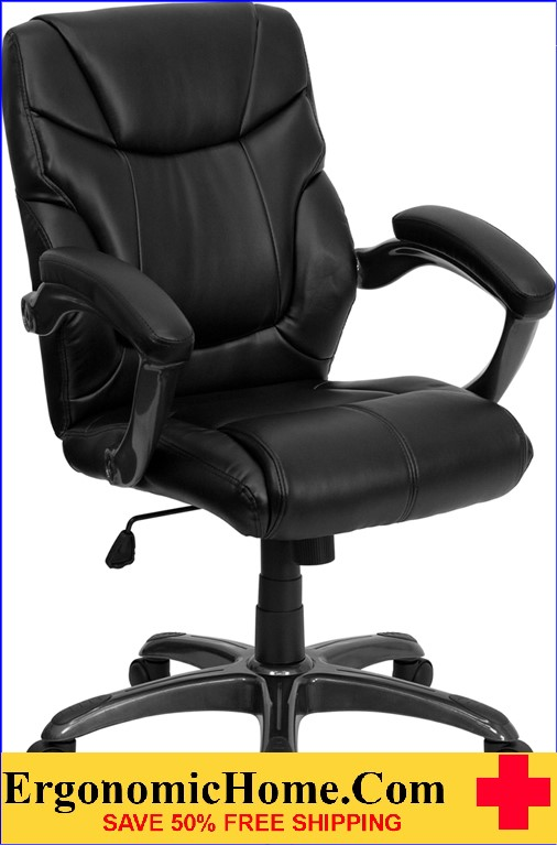 </b></font>Ergonomic Home Mid-Back Black Leather Overstuffed Swivel Task Chair EH-GO-724M-MID-BK-LEA-GG <b></font>. </b></font></b>