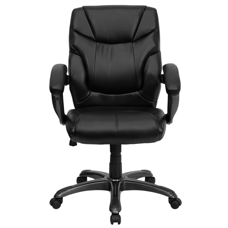 Ergonomic Home Mid Back Black Leather Overstuffed Swivel Task Chair  EH GO 724M MID BK LEA GG 50% Off Read More Below.