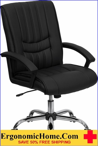 Ergonomic Home Mid-Back Black Leather Swivel Manager's Chair <b><font color=green>50% Off Read More Below...</font></b>