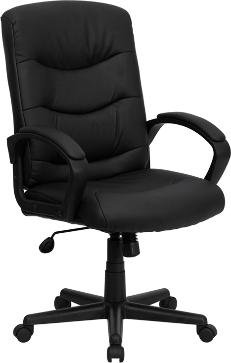 Ergonomic Home Mid-Back Black Leather Swivel Task Chair EH-GO-977-1-BK-LEA-GG <b><font color=green>50% Off Read More Below...</font></b>