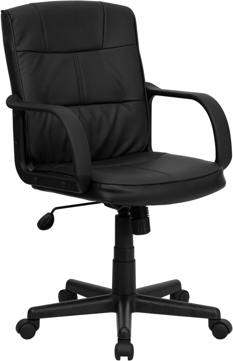 Ergonomic Home Mid-Back Black Leather Swivel Task Chair with Nylon Arms EH-GO-228S-BK-LEA-GG <b><font color=green>50% Off Read More Below...</font></b>