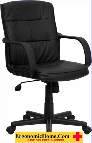 Ergonomic Home Mid-Back Black Leather Swivel Task Chair with Nylon Arms EH-GO-228S-BK-LEA-GG <b><font color=green>50% Off Read More Below...</font></b></font></b>