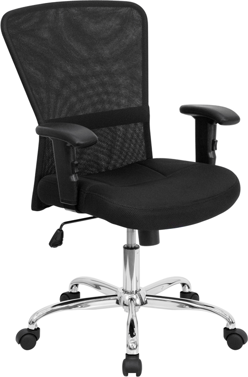 ERGONOMIC HOME Mid-Back Black Mesh Contemporary Swivel Task Chair with Chrome Base and Height Adjustable Arms EH-GO-5307B-GG <b><font color=green>50% Off Read More Below...</font></b>