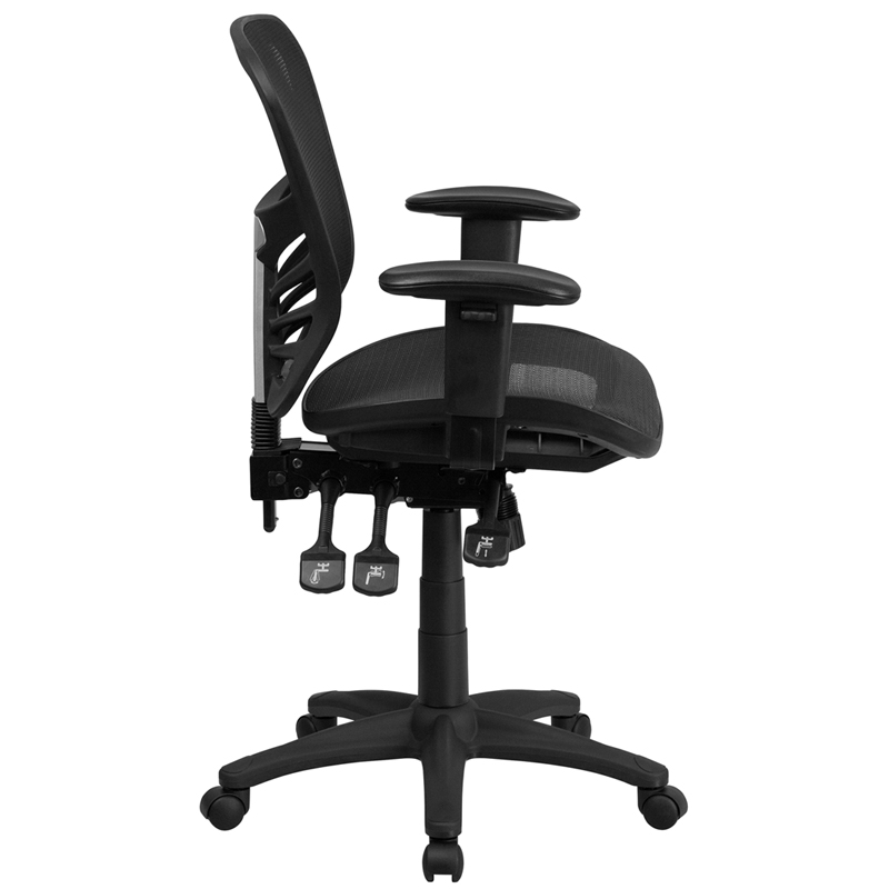 triple seated home office area. Ergonomic Home Mid-Back Black Mesh Executive Swivel Chair With Seat And Back, Multi-Function Triple Paddle Control Height Adjustable Arms Seated Office Area -