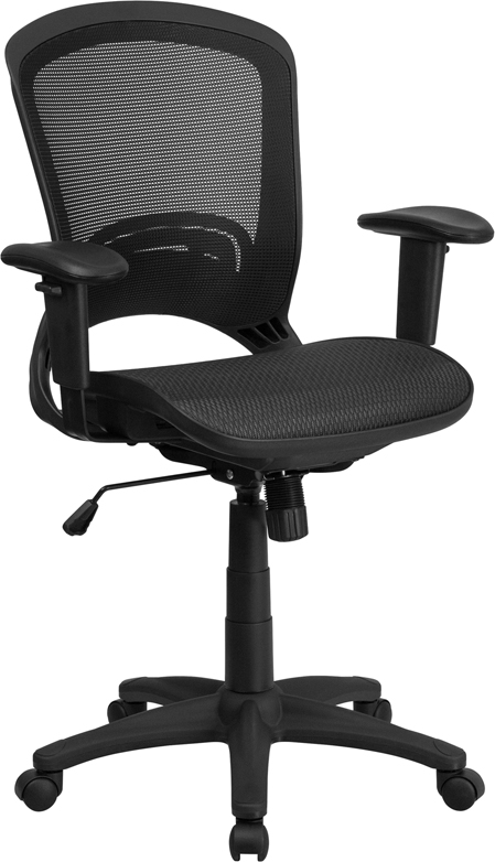 Mid-Back Black Mesh Executive Swivel Office Chair with Mesh Seat and Back and Height Adjustable Arms