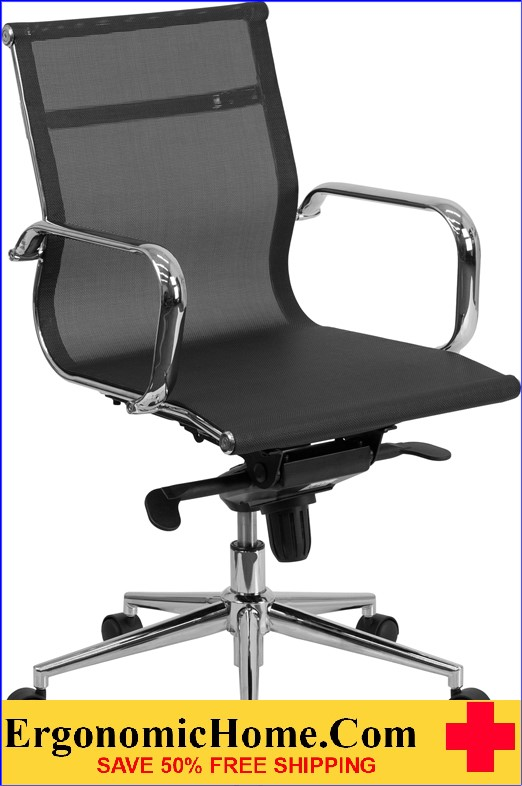 Ergnomic Home Mid-Back Black Mesh Executive Swivel Office Chair with Synchro-Tilt Mechanism <b><font color=green>50% Off Read More Below...</font></b>