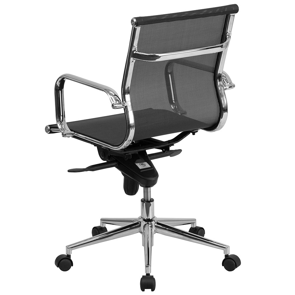 Ergonomic Home Mid Back Black Mesh Executive Swivel Office
