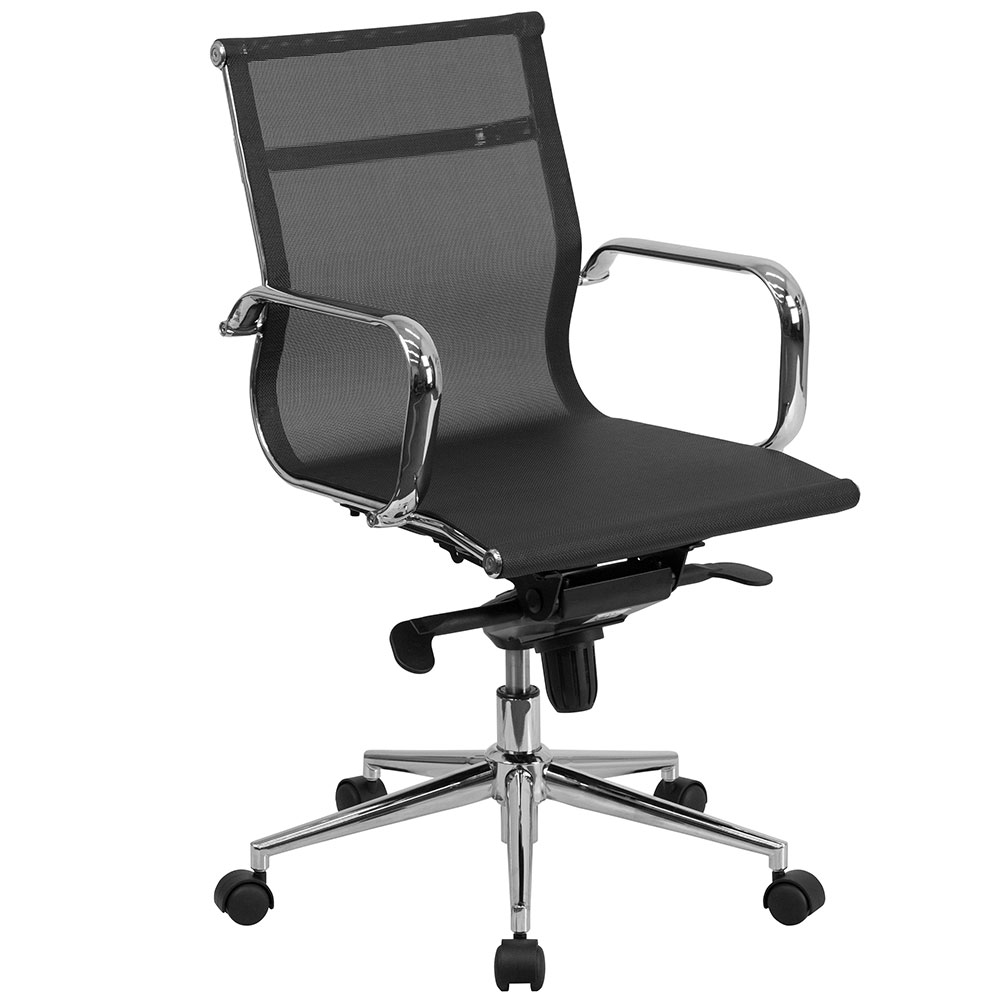 Mid-Back Black Mesh Executive Swivel Office Chair with Synchro-Tilt Mechanism