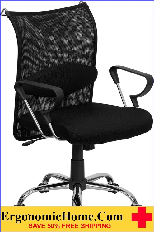 Mid-Back Black Mesh Swivel Manager's Office Chair with Adjustable Lumbar Support and Arms