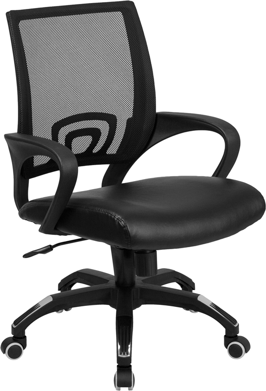 ERGONOMIC HOME Mid-Back Black Mesh Swivel Task Chair with Black Leather Padded Seat EH-CP-B176A01-BLACK-GG <b><font color=green>50% Off Read More Below...</font></b>