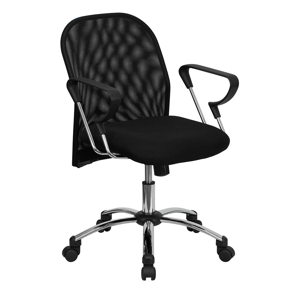 Mid-Back Black Mesh Swivel Task Chair with Chrome Base