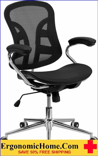 Ergonomic Home Mid-Back Black Mesh Swivel Task Chair with Chrome Base and Padded Arms .