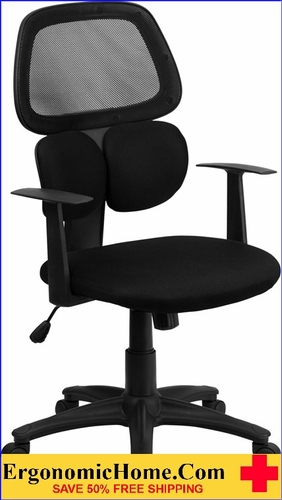 Ergonomic Home Mid-Back Black Mesh Swivel Task Chair with Flexible Dual Lumbar Support <b><font color=green>50% Off Read More Below...</font></b></font></b>