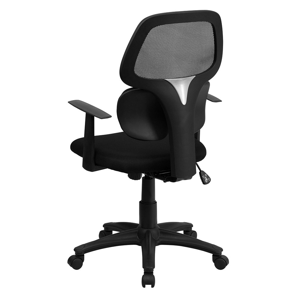Ergonomic Home Mid Back Black Mesh Swivel Task Chair With Flexible Dual Lumbar Support