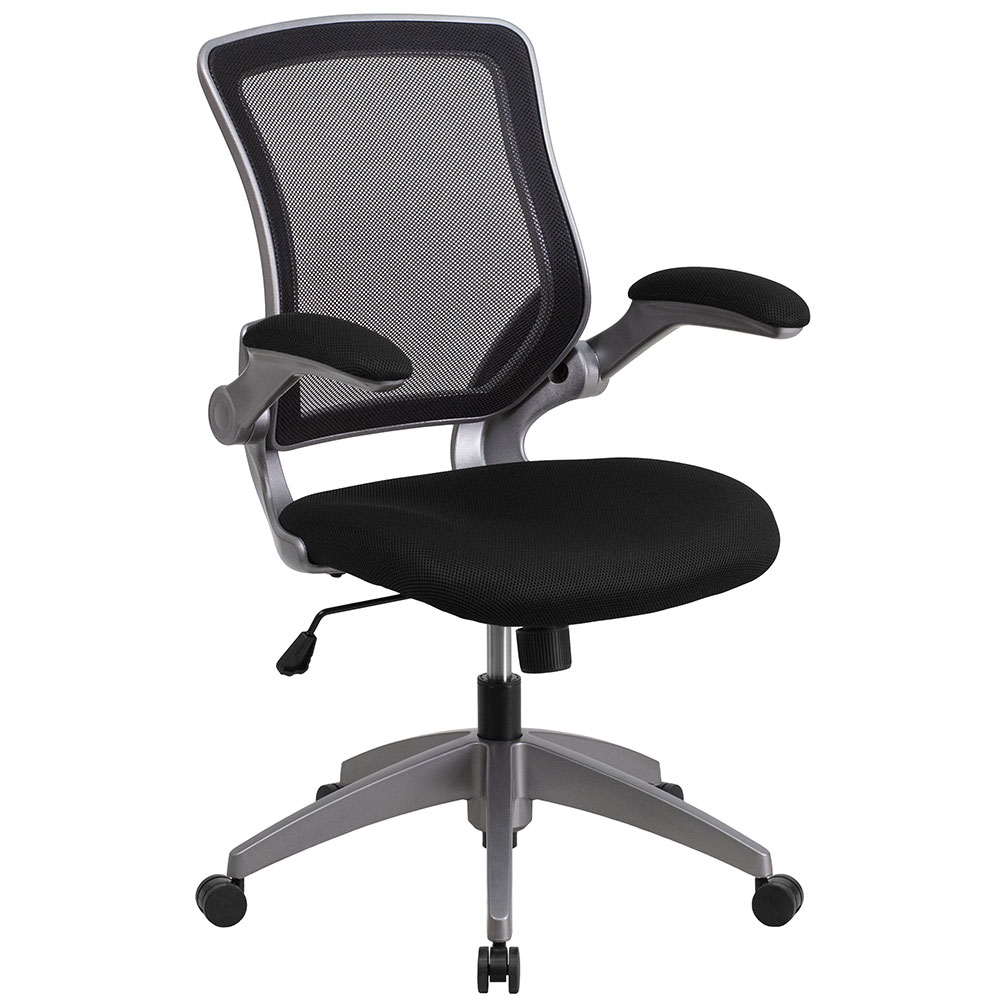 ERGONOMIC HOME Mid-Back Black Mesh Swivel Task Chair with Gray Frame and Flip-Up Arms EH-BL-ZP-8805-BK-GG <b><font color=green>50% Off Read More Below...</font></b>