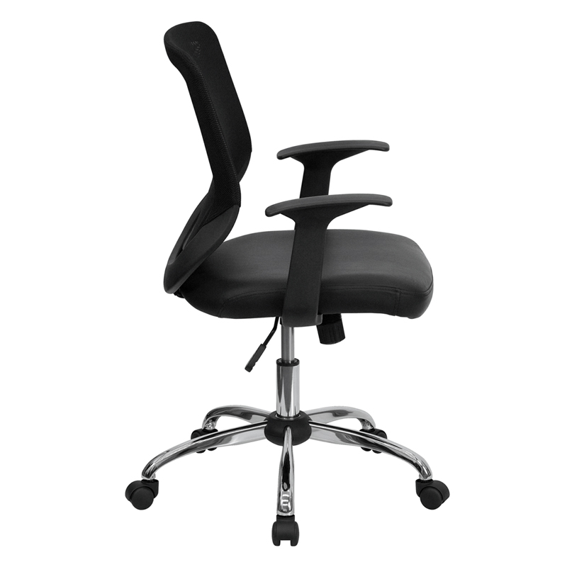 ergonomic home mid back black mesh swivel task chair with leather