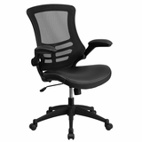 Mid-Back Black Mesh Swivel Task Chair with Leather Padded Seat and Flip-Up Arms.