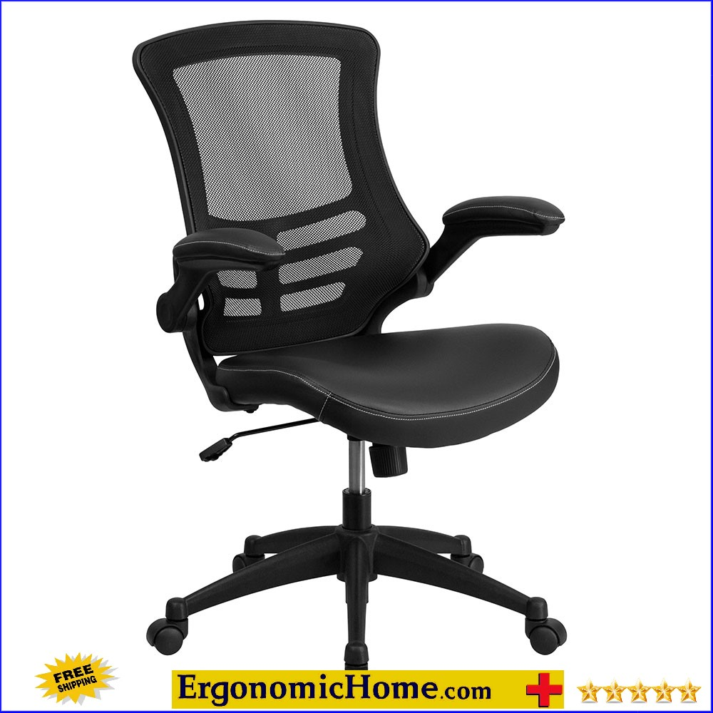 Mid-Back Black Mesh Swivel Task Chair with Leather Padded Seat and Flip-Up Arms EH-BL-X-5M-LEA-GG. <b><font color=green>50% Off Read More Below...</font></b>