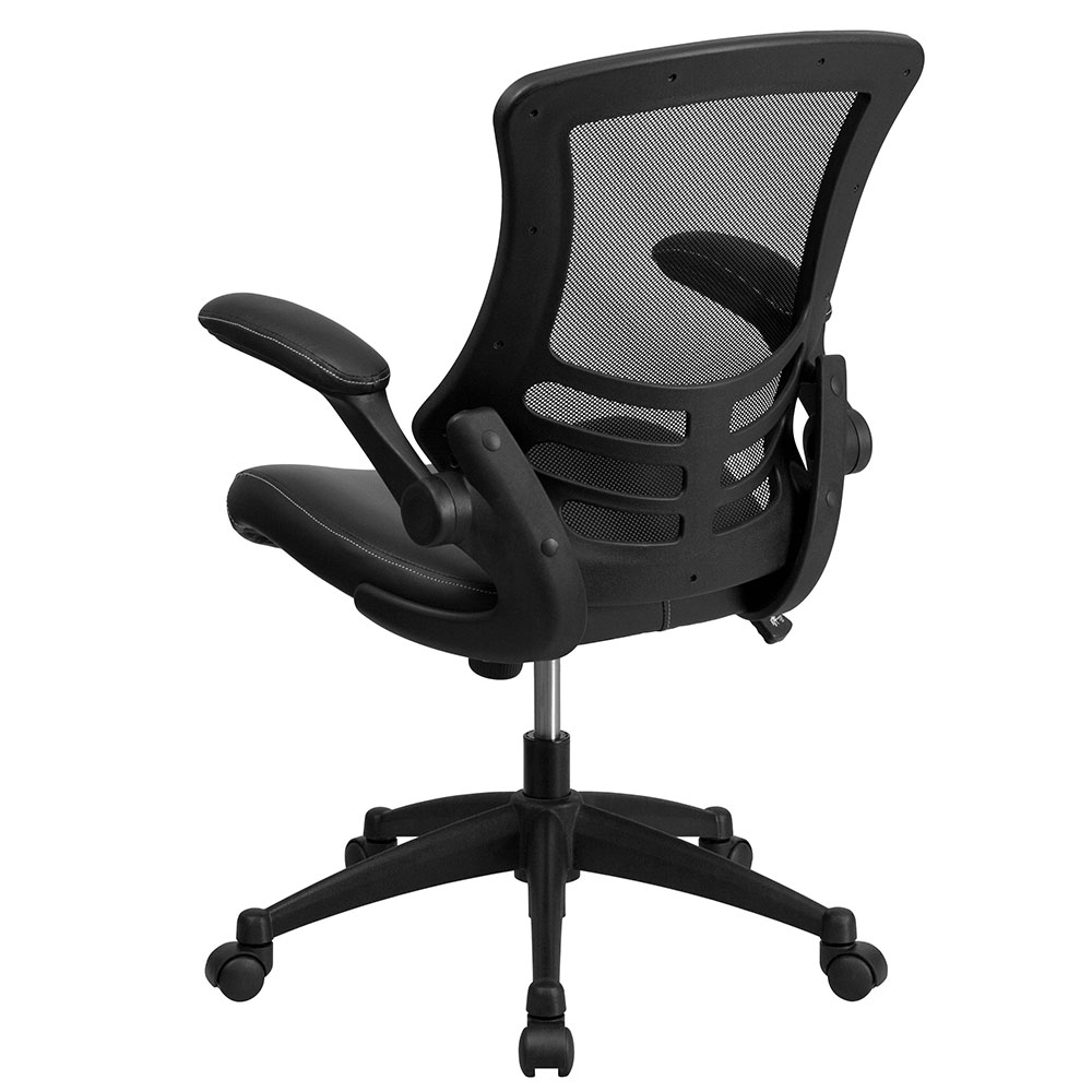 Mid Back Black Mesh Swivel Task Chair With Leather Padded Seat And Flip Up  Arms EH BL X 5M LEA GG. 50% Off Read More Below.