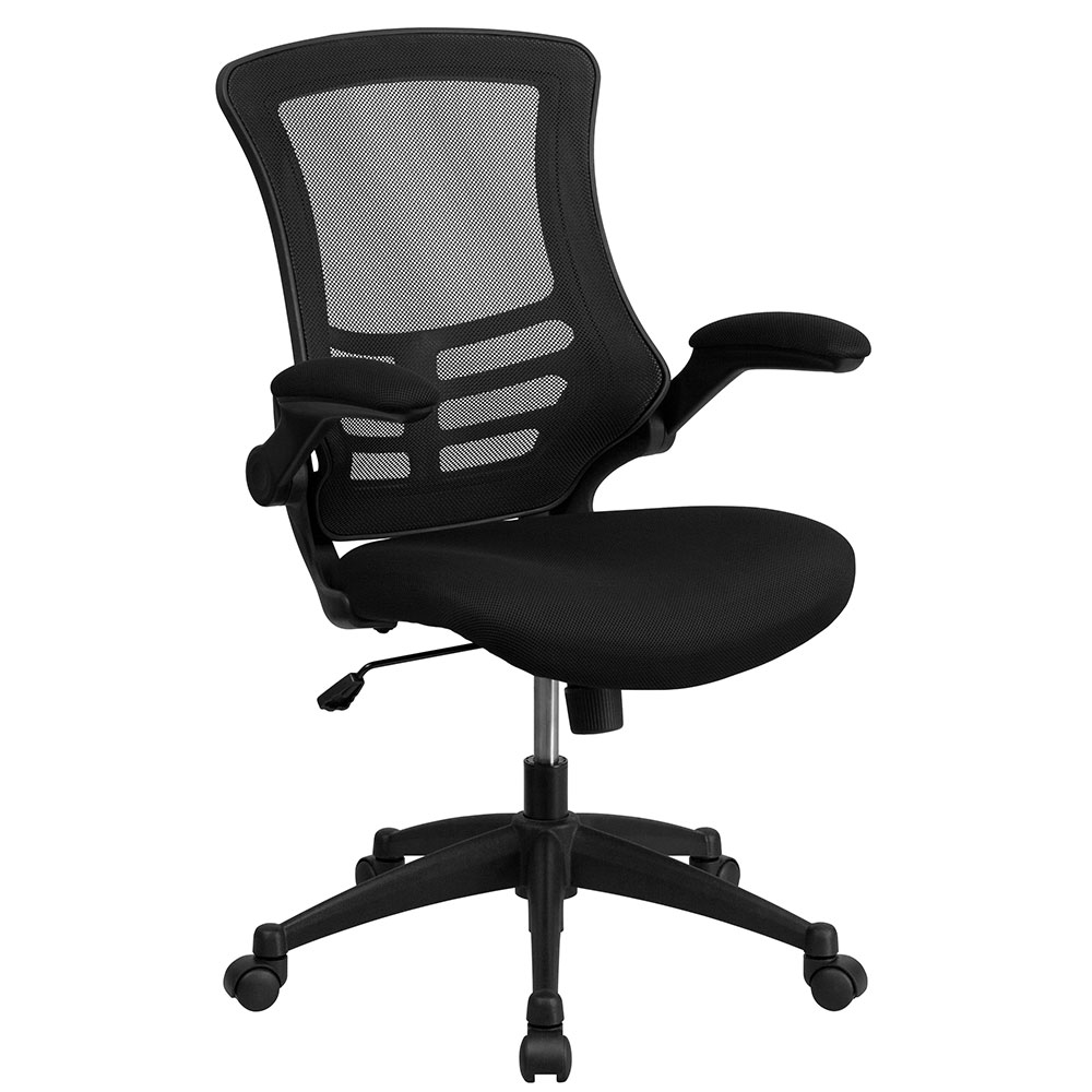 Mid-Back Black Mesh Swivel Task Chair with Mesh Padded Seat and Flip-Up Arms EH-BL-X-5M-BK-GG. <b><font color=green>50% Off Read More Below...</font></b>