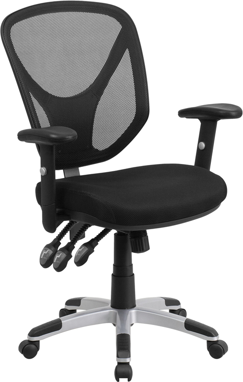 Mid-Back Black Mesh Swivel Task Chair with Triple Paddle Control and Height Adjustable Arms
