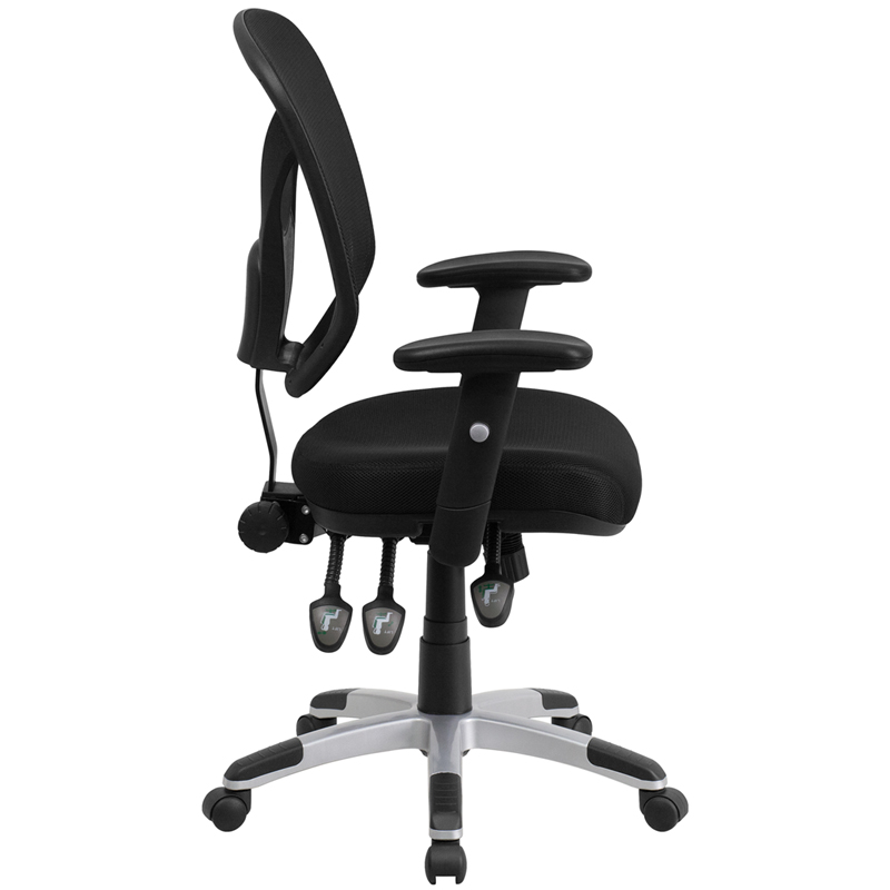 Ergonomic Home Mid Back Black Mesh Swivel Task Chair With Triple Paddle  Control And Height Adjustable Arms