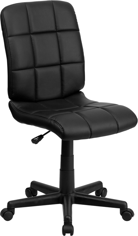 Mid-Back Black Quilted Vinyl Swivel Task Chair