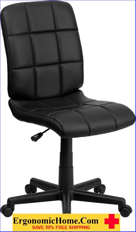 </b></font>Ergonomic Home Mid-Back Black Quilted Vinyl Swivel Task Chair EH-GO-1691-1-BK-GG <b></font>. </b></font></b>